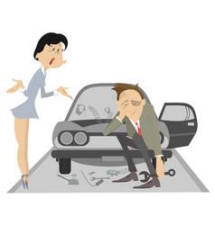 sad man angry woman and broken car vector image