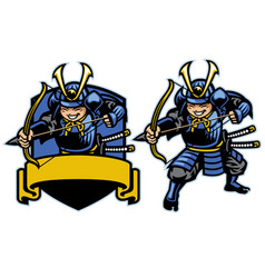 Samurai ronin warrior archer mascot set vector