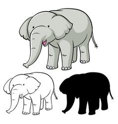 Set elephant cartoon vector