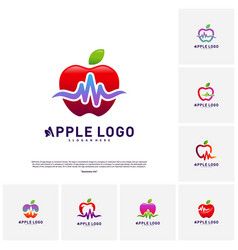 Set of apple with medical pulse logo concept vector