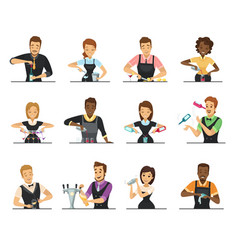 Set of cartoon bartender characters vector