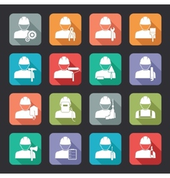 Set of construction worker flat style icons vector image