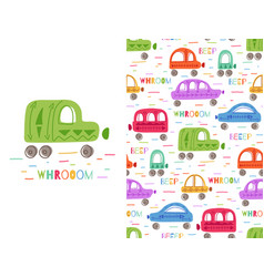 Set of cute colorful childish card and pattern vector