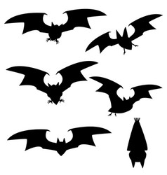 set of silhouette vampire bat flying vector image
