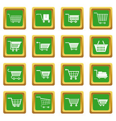 shopping cart icons set green vector image