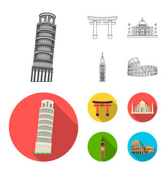 Sights of different countries outlineflat icons vector