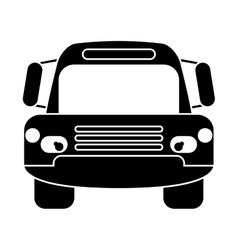 Silhouette bus public transport city front view vector
