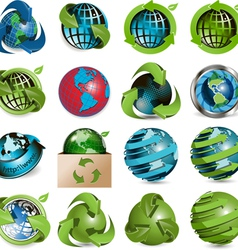 sixteen icons of the globe on white background vector image vector image