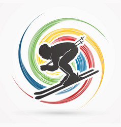 Skier action graphic vector