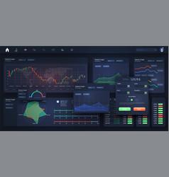 stock exchange market graph analysis ui ux kit vector image