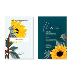 sunflower watercolor wedding card summer nature vector image