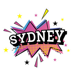 Sydney australia comic text in pop art style vector