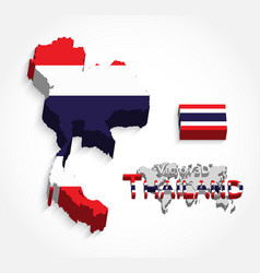 Thailand 3d map and flag vector