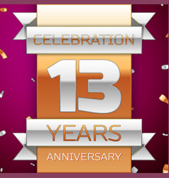 Thirteen years anniversary celebration design vector