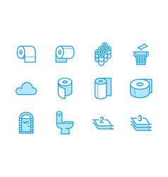toilet paper roll towel flat line icons hygiene vector image
