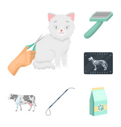 Veterinary clinic cartoon icons in set collection vector