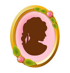 vintage accessory cameo with female silhouette vector image