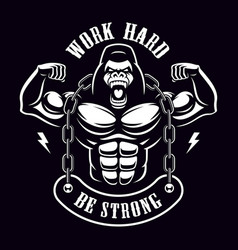 vintage of a gorilla bodybuilder with chain vector image