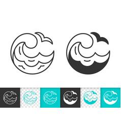 Water wave simple splash black line icon vector