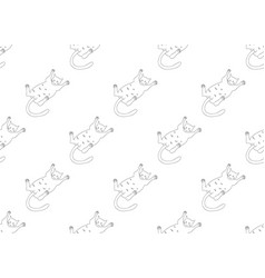 White cute cat laying on back seamless background vector
