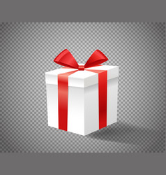 White gift box with red ribbon on transparent vector