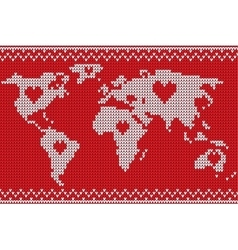World map lovely knitting style vector