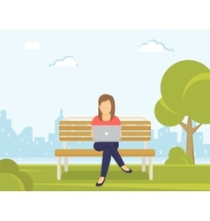 Young woman sitting in the park on the bench and vector