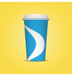 Blue and white paper cup template for drinks vector