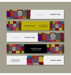Business card collection patchwork carpet design vector image