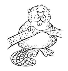 Cartoon image of beaver vector