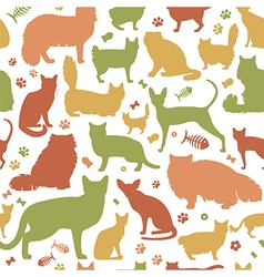 Cat characters and vet care seamless pattern flat vector image vector image