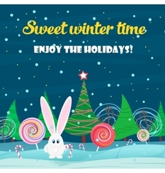Christmas card background Rabbit with sweets vector image vector image