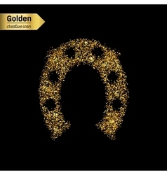 Gold glitter icon of hoof isolated on vector image vector image