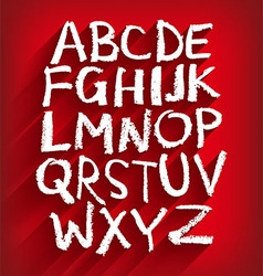 Handwritten English alphabet and a red background vector image vector image