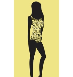 Woman in swimsuit from words vector image