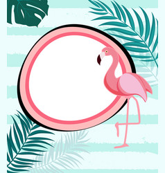 abstract tropical background with flamingo and vector image