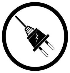 Electric plug black silhouette vector image vector image