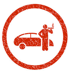 smoking taxi driver rounded grainy icon vector image vector image