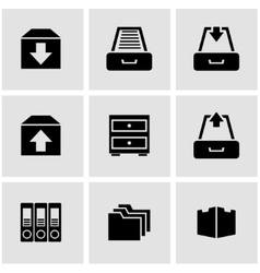 black archive icon set vector image vector image