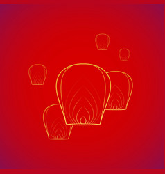 chinese sky flying floating lanterns vector image