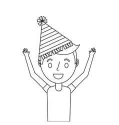happy young boy with party hat arms up vector image