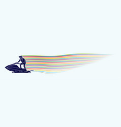 Jet ski action sport man riding water scooter out vector