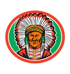 Native American Indian Chief Headdress vector image vector image
