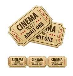 Old cinema tickets for cinema vector image vector image