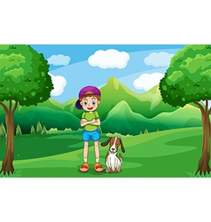 A young boy standing in the middle of the trees vector image vector image