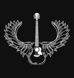 acoustic guitar with wings stylized coustic vector image