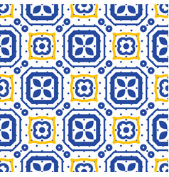blue and white mediterranean seamless ceramic tile vector image vector image