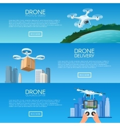 Drone with remote control flying over city Pizza vector image
