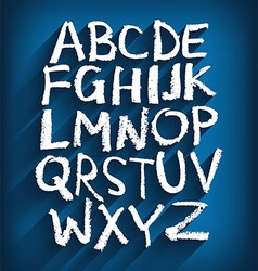 Handwritten english alphabet and a blue background vector