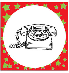 vintage retro telephone sketch vector image